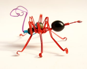 red ant · wire sculpture · ant sculpture · decorative bug · ant decorative sculpture · wire ant · insect · decorative ant · kids room decor