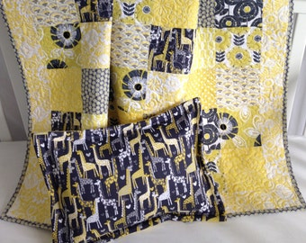 Modern Baby Girl Quilt featuring Floral and Giraffe Fabrics in Shades of Yellow Citron White Grey With Matching Pillow Sham