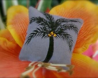 Dollhouse Miniature Pillow - Purple Coconut Palm