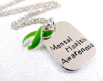 Mental Health Awareness Necklace - Green Awareness Ribbon Hand Stamped Jewelry - Cerebral Palsy Organ Donation Kidney Cancer Awareness