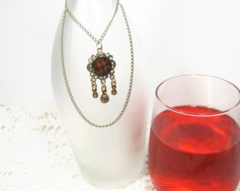 Wine Bottle Necklace, Wine Bottle Jewelry Charm,  Brown Wine Bottle Necklace, Wine Lover Gift