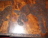 Folk Art pyrography signed book ends, dated 1939 detail work of dogs, metal hardware
