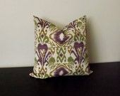 Decorative Throw Pillow, Ikat Pillow Cover, Outdoor Pillow, Decor Pillow, Purple Pillow Case, Accent Pillow,18x18,20x20, Toss Pillows