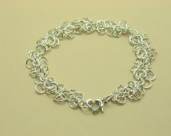 Shaggy Loops Sterling Silver Bracelet, Chain Maille Jewelry, Heart Clasp