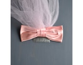 50s pink veil / vintage 1950s bow