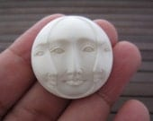 Gorgeous Hand Carved  30mm Three Face Cabochon with open Eye, buffalo Bone Component, Cabochon for Setting B4035