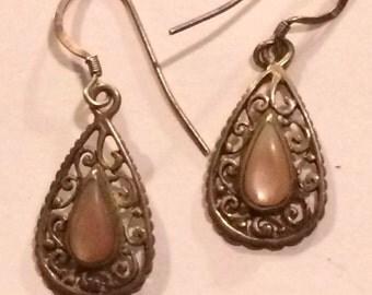 Vintage Signed Handmade Native American Sterling Silver & MOP Earrings