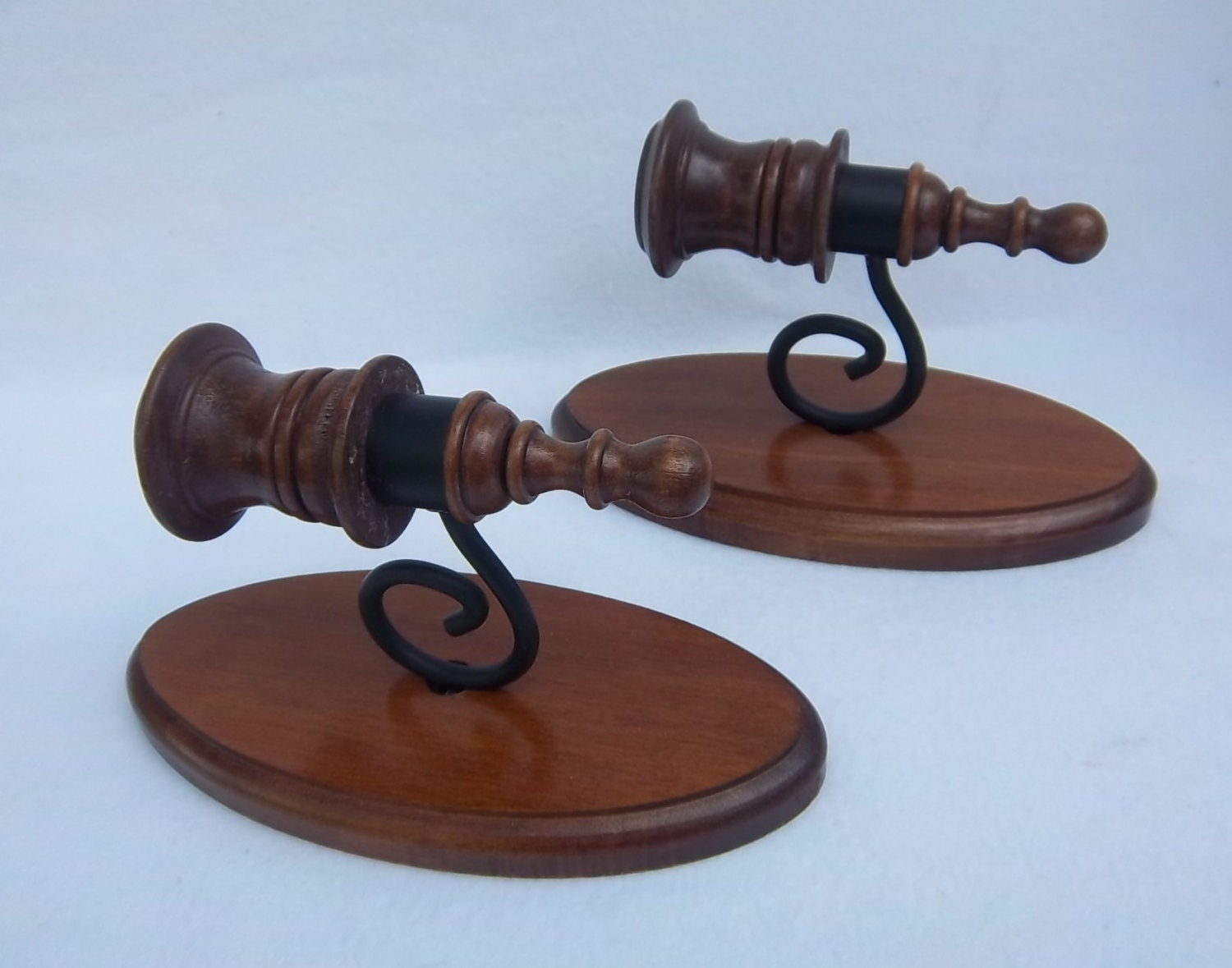 Wrought Iron Wall Decor Candle Holders : Wood and wrought iron wall sconce candle holders