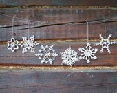 6 crochet snowflakes , Christmas snowflake ornaments, white lace snowflakes in different design, Christmas tree ornament