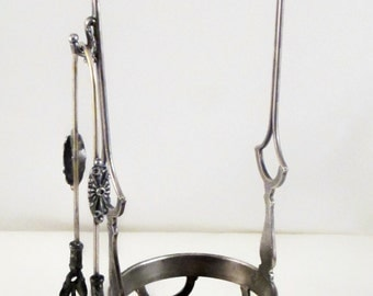 Pickle Castor Frame and Vintage Tongs James W. Tufts Boston Tripleplate