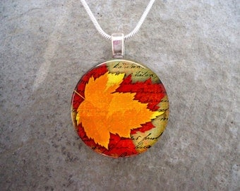 Leaf Jewellery - Glass Pendant Necklace - Autumn Leaves 19