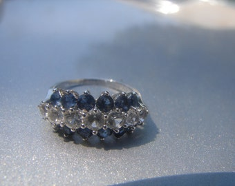 Sterling Silver White Spinel and Blue Stone Ring Size 6 3/4 - 633.