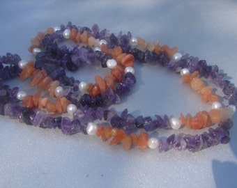 36 Inch Amethyst Peach Coral and Freshwater Pearl Necklace 742.