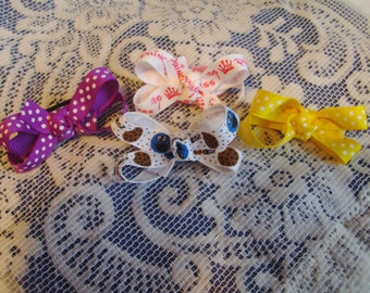 Infant Hair Bow Clip Set - Baby Bow Set - Twisted Boutique Bow Set - Fine Hair Bow Set - Pink Purple Yellow Cookie Bow Set - Boutique Bows