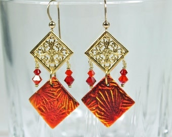 Red Orange Dichroic Glass, Filagree Diamond, and Swarovski Crystal Dangle Earrings