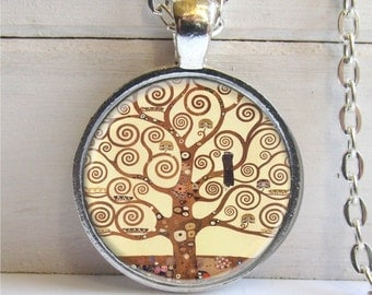 Gustav Klimt Tree Of Life Pendant, Tree Of Life Necklace, Silver And Glass Dome Art Necklace