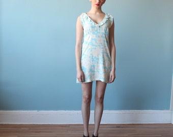 floral mini dress / blue floral mini dress / 1994 / small - medium