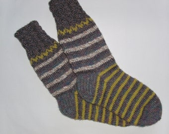 Hand Knitted Wool Socks For Men-Colorful Wool Socks-Size Large US12-12,5,EU46-House Wool Socks-Handmade Wool Socks