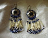 Vintage Native American Beaded Porcupine Quill Earrings