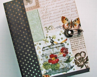"Scrapbook Album, 9"" x 7"", for photos, Mariposa, Butterflies, Interactive - Handmade"