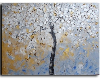 """White Blooming Tree Painting 18""""X24"""" Art ORIGINAL Oil Painting Landscape Painting by Tatjana nursery decor Gifts Gift Ideas"""