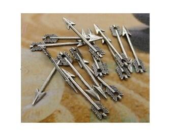 14 ARROW Charms Atq Silver Tone Charm SMALL Size Archery Arrows Charm Jewelry Craft Supplies 29x5 mm