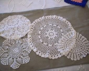 Crochet - Group of 4 - Vintage Doilies