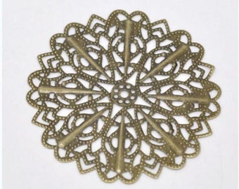 10pc antique bronze 52mm flower shape filigree wraps-899R