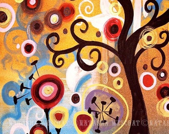 Swirly june Tree, Pop Art TREE    Fine Art Print by Natasha Wescoat 8x10 12x16 13x19 16x20