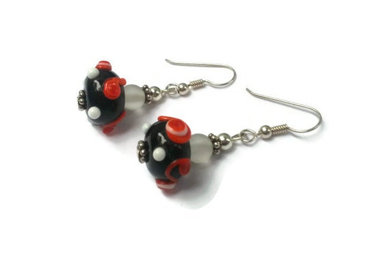 Black with Red and White Handmade Lampwork Glass Beaded Earrings