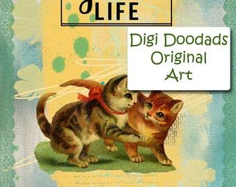 ATC The Good Life Kittens Original Art Printable Digital Download