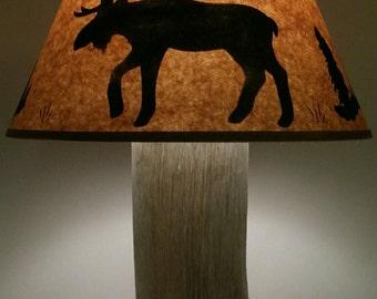 Rustic Exotic Hawaiian Ohia Moose Lamp!  Beautiful Hardwood On Redwood Slab Base! Cabin Lodge Log Furniture Decor