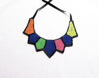 Beadwork, Multicolored  Collar Necklace, Peach, Dark Blue, Green and pink, Geometric Pattern, Fashion Collar Necklace, Women Accessories