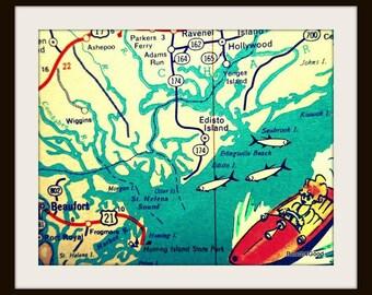 Edisto Island South Carolina map art, Beaufort Hunting Kiawah map, Vintage Edisto Island SC, South Carolina Gifts, or, SC beach house art