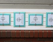 Picture Frame - Distressed Wood - Holds 4 - 5x7 Photos - White, Seafoam and Aqua