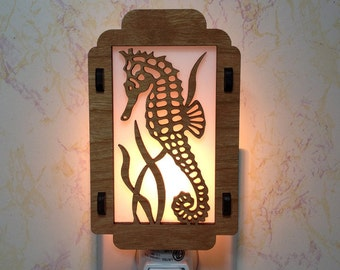 Seahorse Night Light with Seaweed Sides