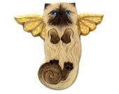 Angel Cat Himalayan Chocolate Point, Himmie Cat Angel, Wooden Wall Hanging