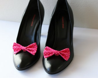 Pink bows shoe clips