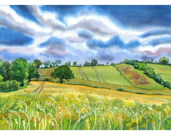 Wheat Fields English Landscape Watercolour  Limited Edition Giclee Print