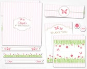 Garden Party Kit -  PRINTABLE DIY - Flower Butterfly Party - Flags, Wrappers, Labels, Toppers, Pennants  - Garden Party Collection