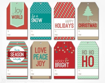 Gift Tags - Digital PDF File - Instant Download Holiday Tag Template ...