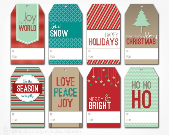Christmas Gift Tags - Digital PDF File - Instant Download Holiday Tag ...
