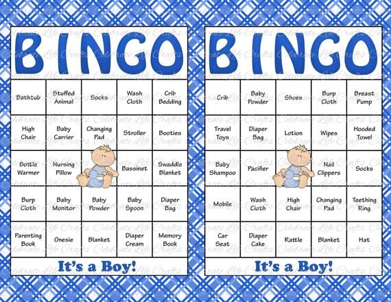 60 Baby Shower Bingo Cards - DIY Printable Party for Baby Boy ...