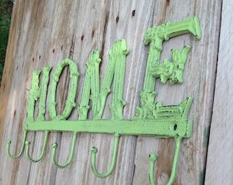 SALE - HOME SIGN w/ 5 Hooks / Green Apple Wall Decor