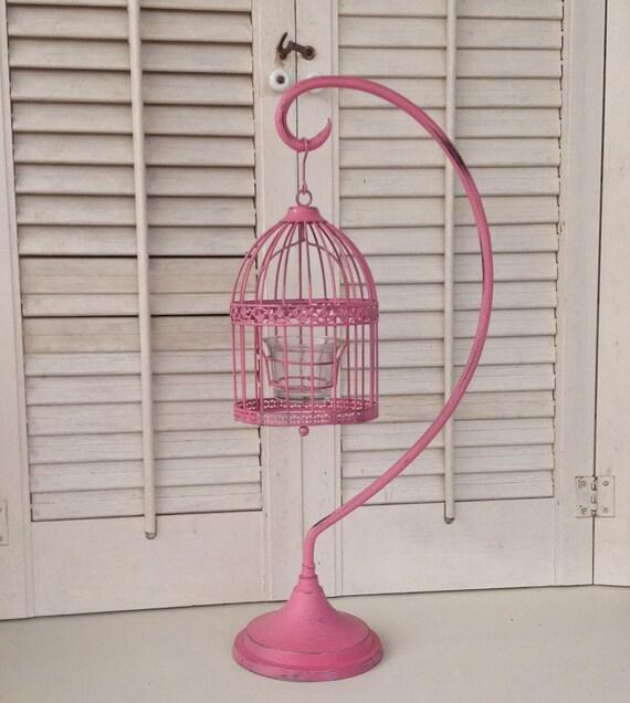 petite oiseau cage bougeoir sur pied pink bird cage. Black Bedroom Furniture Sets. Home Design Ideas