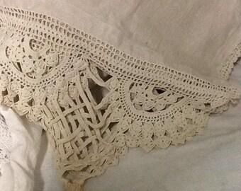 Vintage Linen Runner with Crochet Edging