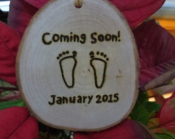 Baby Announcement Hand-Burned Wooden Hang Tag