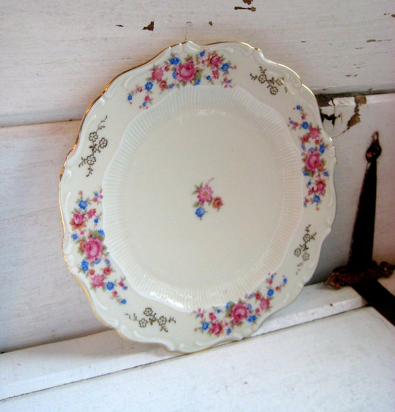Bavaria Schirnding China plate, Germany, pink, gold, blue, green, floral, trimmed in gold