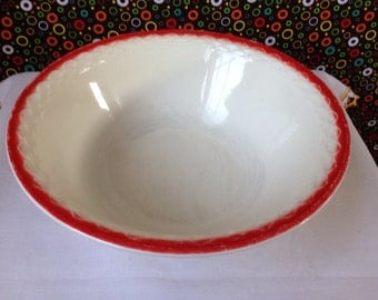 Fire King - Fish Scale -  Vitrock - Ivory with Red -  Vegetable Bowl - 1940's
