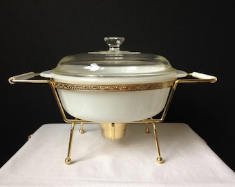 Anchor Hocking - Fire King - 1 1/2 QT.  - Casserole with Candle Warmer - Original Box